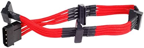 Silverstone Tek Sleeved Extension Power Supply Cable with 1 x 4-Pin to 4 x SATA Connectors PP07-BTSR