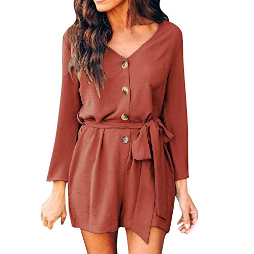 - Alangbudu Women Casual V Neck High Waist Self Tie Belt Romper Button Down Long Sleeve One Piece Short Jumpsuit Playsuit Orange