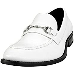 AN Mens Slip On Shoes Loafer Shoes Loafers Bit Dress Shoes Casual Shoes White Smooth 43 EU (US Men's 7.5 M)