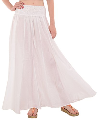 Skirts N Scarves  Pure Cotton Beach Long Maxi Evening Skirt,White,One Size -