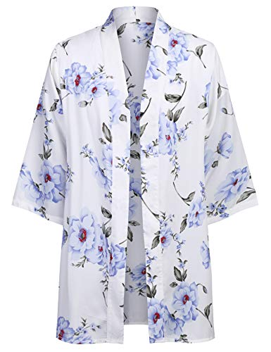 COOFANDY Mens Kimono Cardigan Floral Print Casual Lightweight Long Length Cape