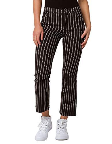 IVY & MAIN Stripe Kick Crop Flare Pants, Black/white, 0