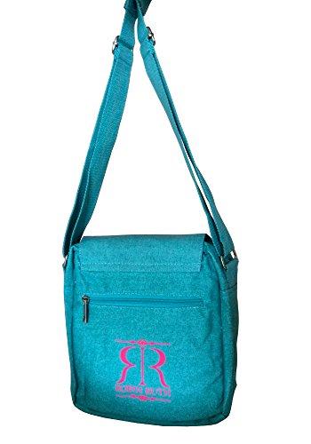 Robin Ruth Canvas kleine Umhängetasche/Überschlagtasche Moin in blau/Türkis (Maße: LxHxT 24x28x8 cm)