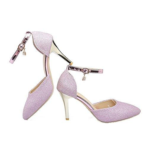 VogueZone009 Damen Pailletten Spitz Zehe Hoher Absatz Schnalle Rein Pumps Schuhe Pink