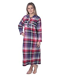 Beverly Rock Women's Full Length Brushed Cotton Flannel Plaid Nightgown Lounger