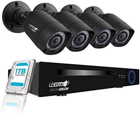 Logan Security Camera System 1080P All in One Kit 5 in 1 4 Channels DVR 4 Plastic Bullet Cameras 1TB HDD Included Indoor Outdoor Surveillance System 2MP Do It Yourself Weatherproof IP 66