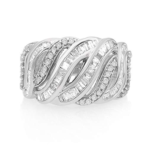 Jewelspaark Sterling Silver Cocktail-Setting Ring Natural White & Baguette Diamond 0.81 Carat for Women US Size 6