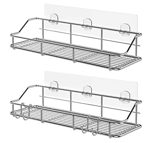 KESOL Adhesive Shower Caddy Shower Shelf Basket with Hooks, 304 Stainless Steel- 2 ()