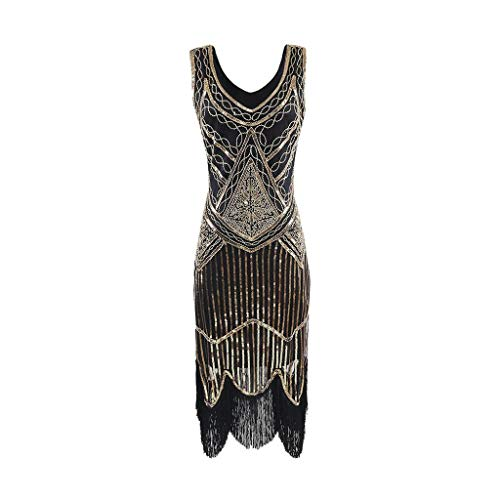 OMMR Women's 1920s Vintage Flapper Fringe Beaded Gatsby Cocktail Party Dress ()
