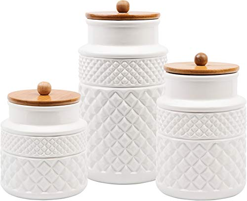 American Recreations Embossed Faceted Canister White Ceramic Set of 3 Round Jars with for Kitchen - Food Storage - Bamboo Lid and Rubber Gasket