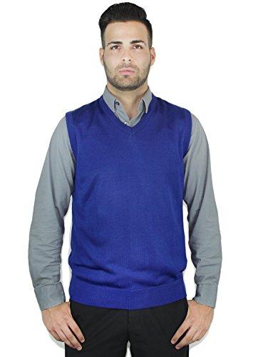 Blue Ocean Solid Color Sweater Vest Royal Blue Large - Ocean Blue Color