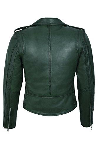 Ajusté Star Haute Mb124 Green En Réel Brando Style Cuir Jacket Bright Taille Zipper Biker Mesdames Avnd4qOxw8