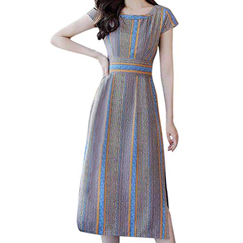 AMQSWW Women's Loose Plain Maxi Dresses Casual Long Dresses Stripe Printing Fork Opening Short Sleeve O-Neck Dress Khaki