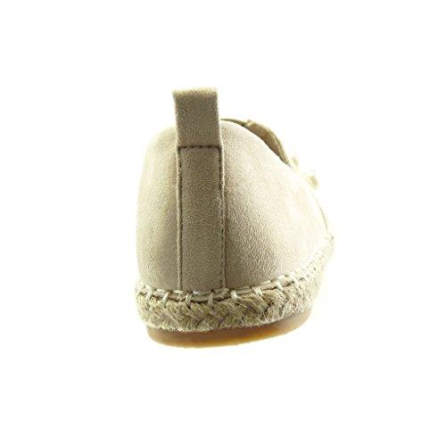 Donna Perla Mocassini Espadrillas Tacco Gioielli Moda Slip cm Corda 2 Scarpe Angkorly a Blocco Beige On 0qYxCw