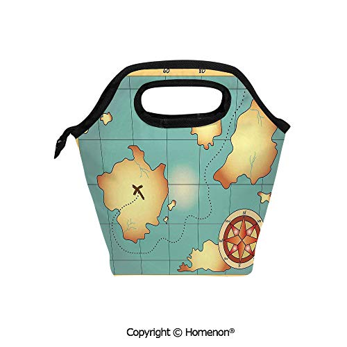 Hidden Treasures Cd Storage - Insulated Neoprene Soft Lunch Bag Tote Handbag lunchbox,3d prited with Ancient Treasure World Map with Compass Navigation Adventure Hidden Land,For School work Office Kids Lunch Box & Food Container