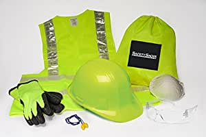 Safety Sacks All-in-One Construction Safety Kit, Hard Hat, High-Visibility, Vest, Work Gloves, Safety Glasses, Ear Protection, Breathing Mask