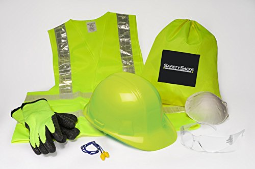 - Safety Sacks All-in-One Construction Safety Kit, Hard Hat, High-Visibility, Vest, Work Gloves, Safety Glasses, Ear Protection, Breathing Mask