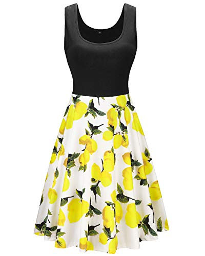KILIG Women's Vintage Floral Sundress Sleeveless Flare Midi Dress Cocktail Party Tank Dress with Pockets(Lemon, M)