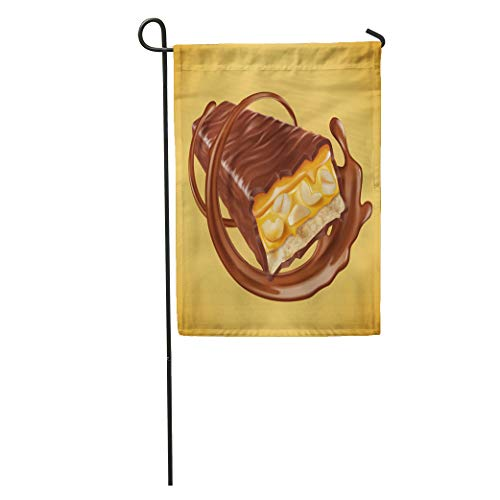 Nougat Swirls - Semtomn Garden Flag Chocolate Bar Sweet Nuts and Caramel Fillings Sauce Swirling Home Yard House Decor Barnner Outdoor Stand 12x18 Inches Flag