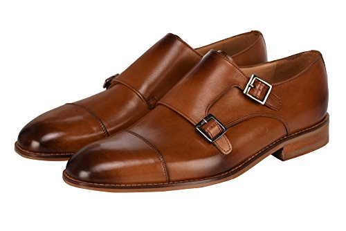 Lethato Handcrafted Men's Captoe Double Monk Strap Genuine Leather Modern Classic Dress Shoes- Tan Monk Leather