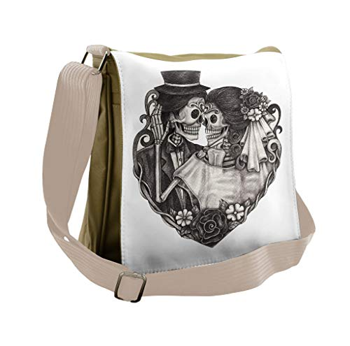 Lunarable Tattoo Messenger Bag, Day of Dead Couple Bride, Unisex Cross-body -