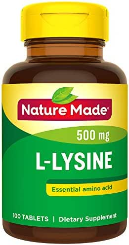 Nature Made L-Lysine 500 mg Tablets, 100 Count for Protein Synthesis† (Pack of 3)