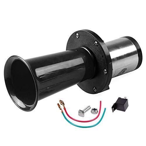 ROPALIA 12v Single Tube Whistle 110DB Black + Relay Retro Horn 12V Retro Classic Speaker