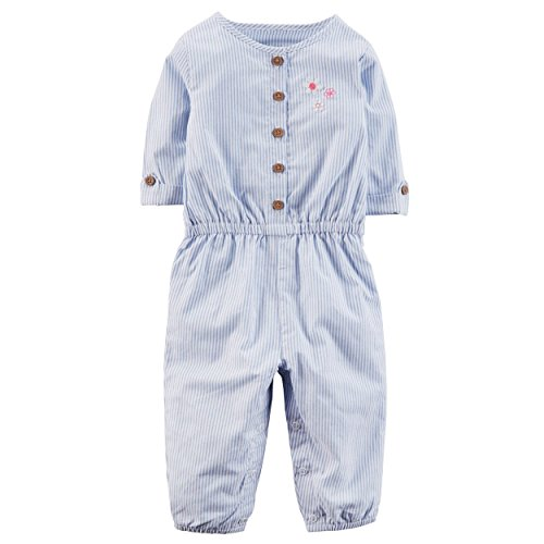 Carter's Baby Girls' Rolled Sleeve Striped Jumpsuit 9 Months