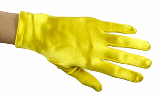 Beautiful Wrist Length Short Satin Gloves, Yellow (Wrist Length Gloves Fingerless)