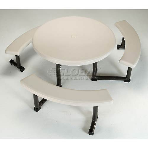 Lifetime Round Picnic Table Benches, 44 Inch Top, (Breakroom Top)
