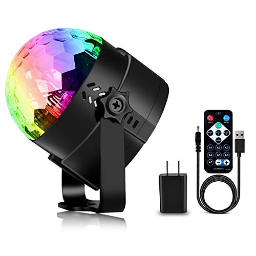 Spriak Disco Ball Disco Party Lights USB Powered, Sound Activated 7 Colors RGB Dj Strobe Lamp with Remote Control for Stage, Birthday Party Bar Club Home Karaoke Show, 3rd Generation