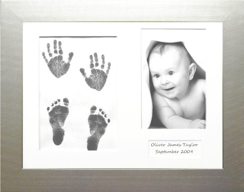 BabyRice Baby Hand and Footprint Kit with Silver Frame White 3 Mount (Black Inkless Wipe) Anika-Baby 401.IL.108.WHT3