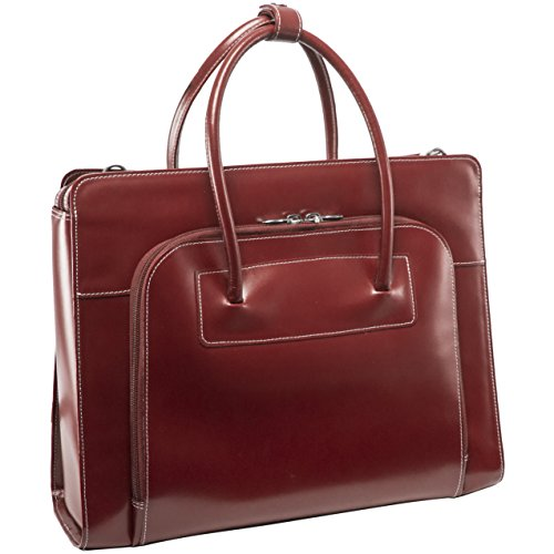 McKleinUSA Lake Forest [Personalized Initials Embossing] Leather Ladies' Laptop Briefcase Tote in Red