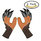 GOMILE 2 Pair Latex Genie Digging Claw Gloves for Rose Pruning Weeding Planting Patio Gardening Work Tool (Brown)
