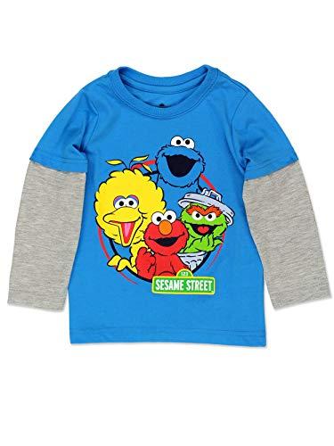 Sesame Street Gang Elmo Baby Toddler Boys Long Sleeve Tee (2T, Sesame Street Blue) (Sesame Street Bert And Ernie Fish Call)