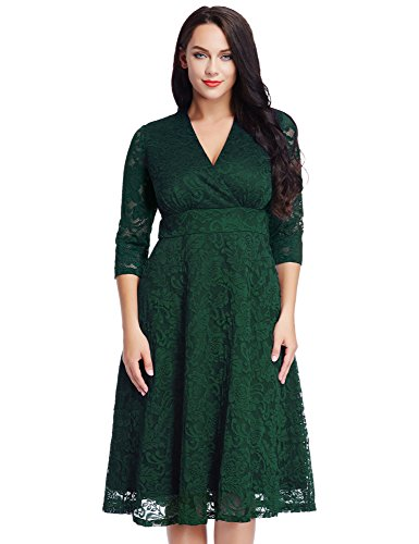 LookbookStore Women's Plus Size Green Lace Bridal Formal Skater Dress 28W