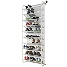 FKUO 10-Tier Over The Door Shoe Organizer Hanging Shoe Storage with 2 Customized Strong Metal Hooks for Closet Pantry Kitchen Accessory - Space Saving Solution (10 Layer, White)