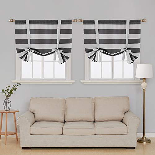 Deconovo Gray Striped Blackout Window Curtains Thermal Insulated Grey and Greyish White Striped Curtains Tie Up Curtains for Bedroom 46W X 63L Gray 2 Panels (Curtains Cheap Up Tie)