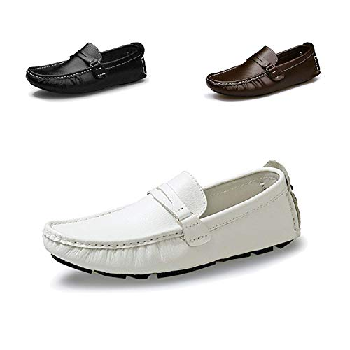 (DRON TOOON Casual Men's Genuine Leather Penny Loafers Driving Moccasins Slip-On Boat Flats Driving Shoes (11, White 1) )