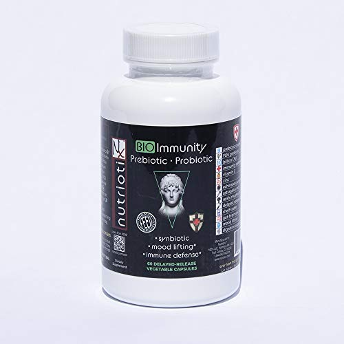 Immunity Probiotic Supplement with Natural Prebiotics for Health and Wellness, Vitamin-C, Zinc, Echinacea, Reishi Mushroom, Astragalus Root, Supports Healthy Digestion, Immune System, and Mood, 60 ct.
