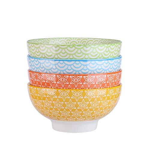 (Vancasso 4-Piece 4 Colors Patterned Porcelain China Ceramic 6