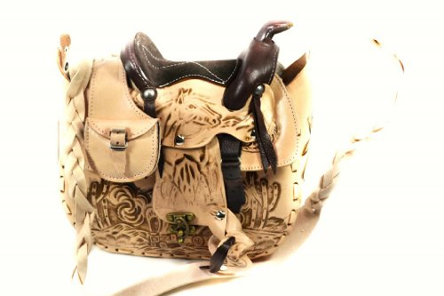 (Leathertown USA Women's Leather Tooled Handcrafted Saddle Bag, Genuine Leather-Natural-10.5
