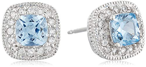 Sterling Silver Created Aquamarine and Created White Sapphire Halo Cushion Stud Earrings