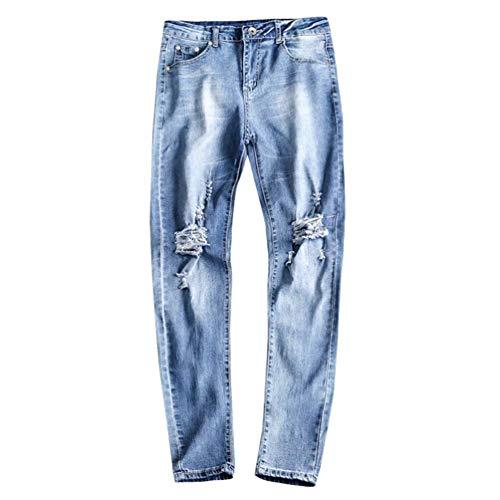 A Da Dritti Destroyed Vita Densità Lavati Pants Denim Jeans Stile Uomo Semplice Hellblau Pantaloni Slim Alta znwqEff47