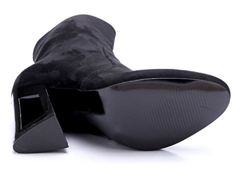 Schuhtempel24 Damen Schuhe Klassische Stiefeletten Stiefel Boots Blockabsatz 11 cm High Heels Schwarz