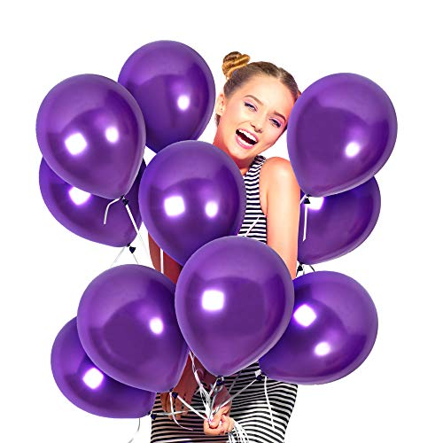 Masquerade Balloon Decorations (Dark Purple Balloons 100 Pack Metallic Pearlized Violet Latex 12 Inches for Bridal Shower Centerpieces Graduation Party and Mardi Gras Masquerade Ball)