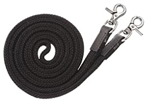 Tough 1 Royal King Deluxe Flat Roping/Contest Reins, Black