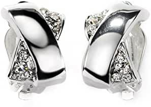 Neoglory Jewelry Silver Color Clear Crystal Pave Stones and X Hoop Clip Earrings for Sensitive Ears