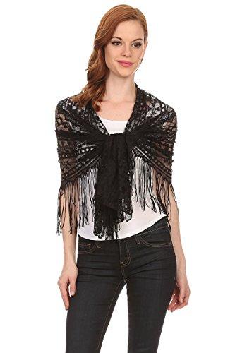 Geometric Fringe (LL- Ladies Bold Geometric Black Lace Fringe Lightweight Blanket Scarf Shawl)