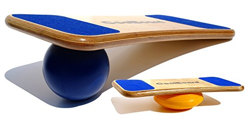 "CoolBoard Balance Board –The only true 3D / 360 balance & exercise training board – Large with Easy Start Balance Disc & Standard Speed 6"" Pro Ball. Wobble Board, rocker board, balance trainer by CoolBoard"
